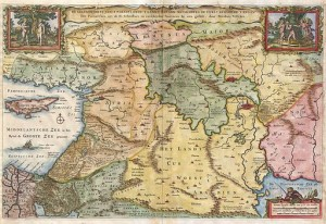 "Visscher, 1657 Map of the Holy Land or the ""Earthly Paradise"""