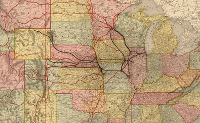 Chicago, Burlington & Quincy Railroad. Rand McNally and Company, 1892. (Public Domain.)